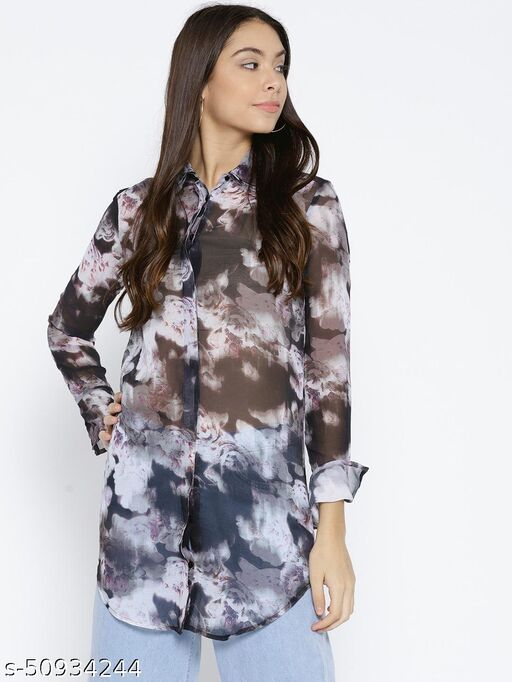 I AM FOR YOU Women Grey Floral Printed Longline Casual Shirt