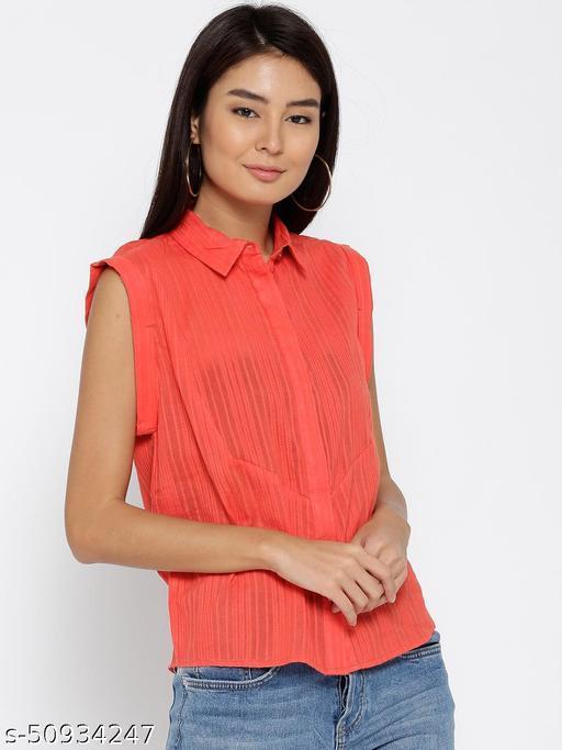 I AM FOR YOU Women Orange Self-Design Casual Shirt