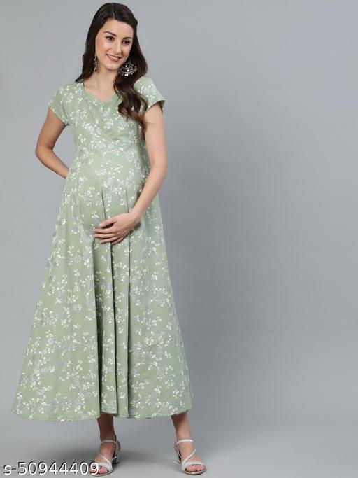 Green & White Khari Printed Maternity Dress