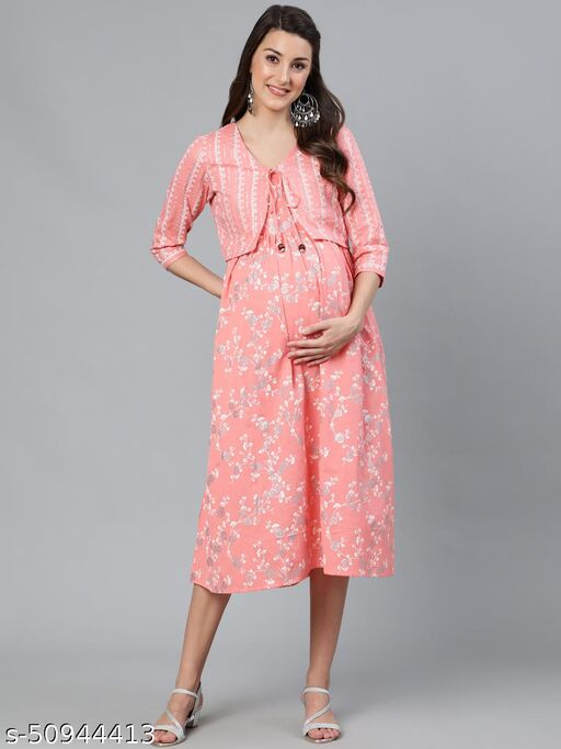 Peach & White Khari Printed Maternity Dress