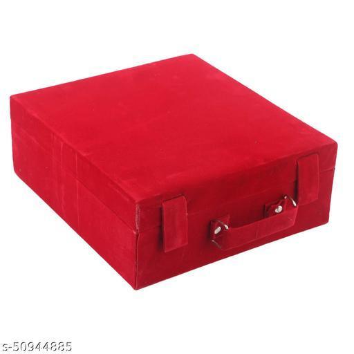 Kuber Industries Wooden 1 Piece Three Rod Velvet Bangle Storage Box (Maroon)
