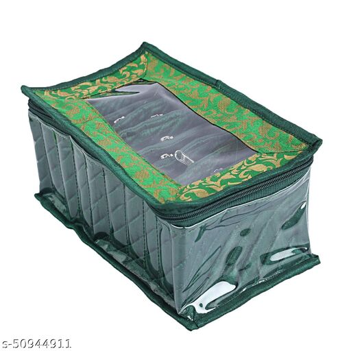 Kuber Industries Laminated Satin Pouch Jewellery Box, Green