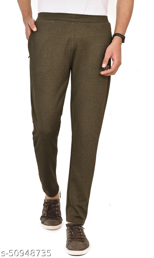 Men's Soft touch 100% polyester Joggers/Trackpants with Two Side Zipper Pocket(Olive)
