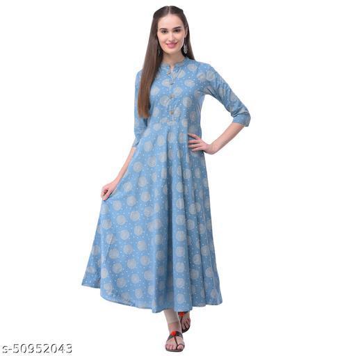 Glamroots Women's Cotton Printed Flared Kurta(BLUE)