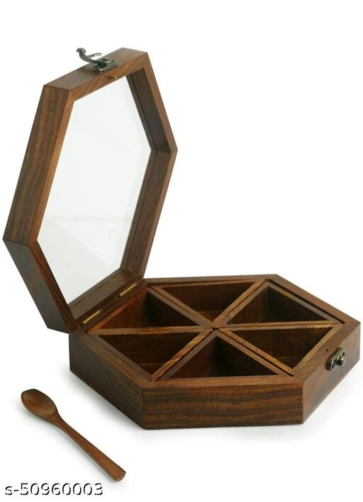 Imperial Arts wooden masala box /spice box with spoon (Brown) (Hexagonal shape)