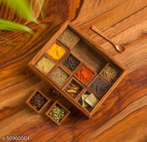 Imperial Arts wooden masala box /spice box with spoon (Brown) (Rectangular shape)
