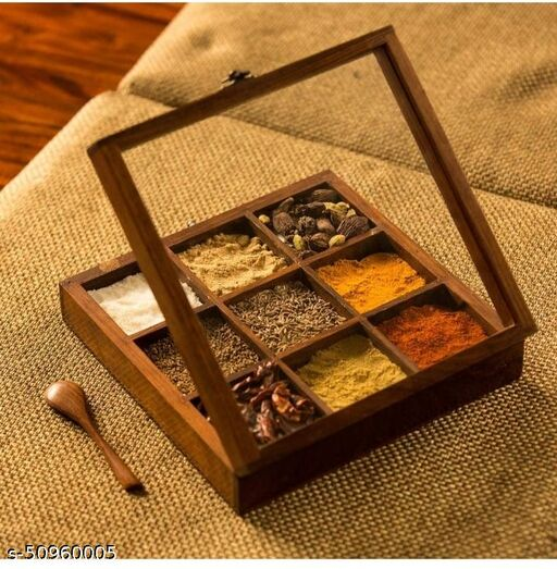 Imperial Arts wooden masala box /spice box with spoon (Brown) (square shape)