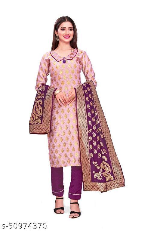 DHARMIK FASHION Banarasi women jacquard cotton silk floral dress material suit
