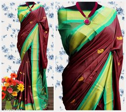 MH Traditional Paithani Silk Sarees With Contrast Blouse Piece (Brown & Cyan)