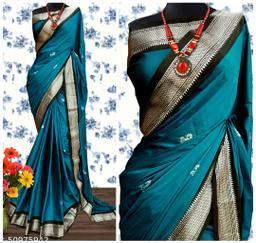 Sanskar Traditional Paithani Cotton Silk Sarees With Contrast Blouse Piece (Chintamani & Silver Black)