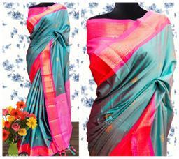 Sanskar Traditional Paithani Cotton Silk Sarees With Contrast Blouse Piece (Cyan & Pink)