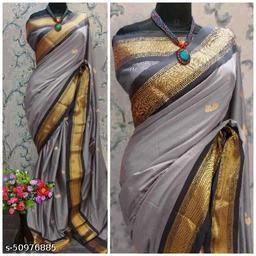 Sanskar Traditional Paithani Cotton Silk Sarees With Contrast Blouse Piece (Grey & Black)