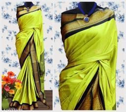 Sanskar Traditional Paithani Cotton Silk Sarees With Contrast Blouse Piece (Lemon & Black)