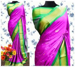 Sanskar Traditional Paithani Cotton Silk Sarees With Contrast Blouse Piece (Bringal & Green)