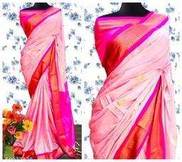 Sanskar Traditional Paithani Cotton Silk Sarees With Contrast Blouse Piece (Baby Pink & Pink)