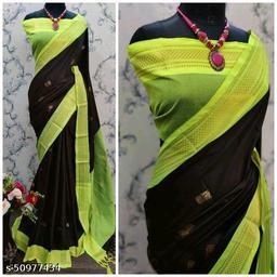 Sanskar Traditional Paithani Cotton Silk Sarees With Contrast Blouse Piece (Black & Neon)