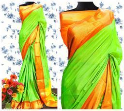 Sanskar Traditional Paithani Cotton Silk Sarees With Contrast Blouse Piece (Neon Green & Rust)