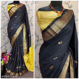 Sanskar Traditional Paithani Cotton Silk Sarees With Contrast Blouse Piece (Black & Gold)
