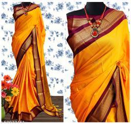 Sanskar Traditional Paithani Cotton Silk Sarees With Contrast Blouse Piece (Mango & Brown)
