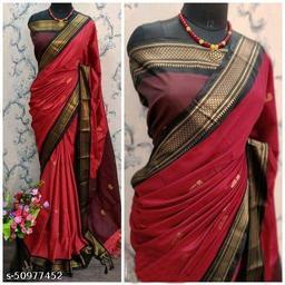 Sanskar Traditional Paithani Cotton Silk Sarees With Contrast Blouse Piece (Red & Black)
