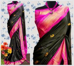 Sanskar Traditional Paithani Cotton Silk Sarees With Contrast Blouse Piece (Black & Pink)