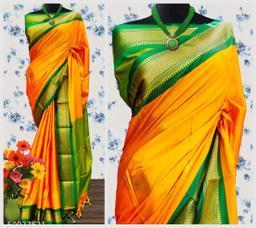 Sanskar Traditional Paithani Cotton Silk Sarees With Contrast Blouse Piece (Orange & Green)