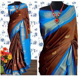 Sanskar Traditional Paithani Cotton Silk Sarees With Contrast Blouse Piece (Brown & Blue)