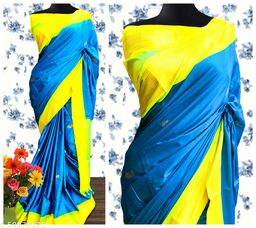 Sanskar Traditional Paithani Cotton Silk Sarees With Contrast Blouse Piece (Sky Blue & Neon)