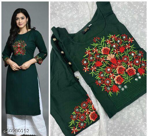 Trendy Beautiful Embroidered Dark Green Color Womens Kurti