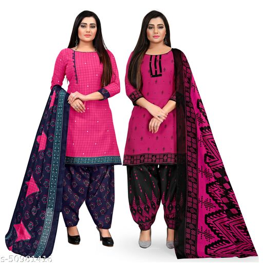 Rajnandini Magenta And Magenta Cotton Printed Unstitched Salwar Suit Material (Combo of 2)
