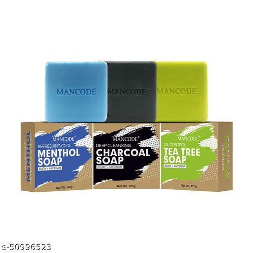 MANCODE Refreshing Menthol Soap, Activated Detoxifying Charcoal Soap & Anti Bacterial Tea Tree Soap - 125 G Each (Combo Pack Of 3)