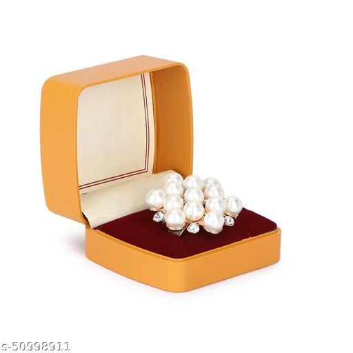 TOLANI'S Beautiful Adjustable Traditional Look Pearl Ring for Girls and Girls