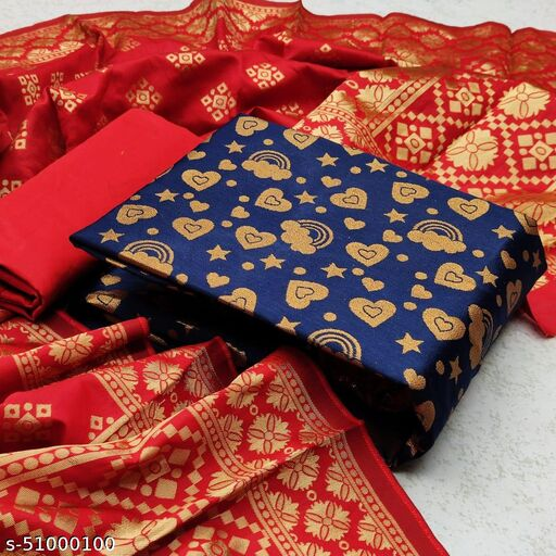 BHAVYA FASHION Banarasi women's jacquard silk dress material suits