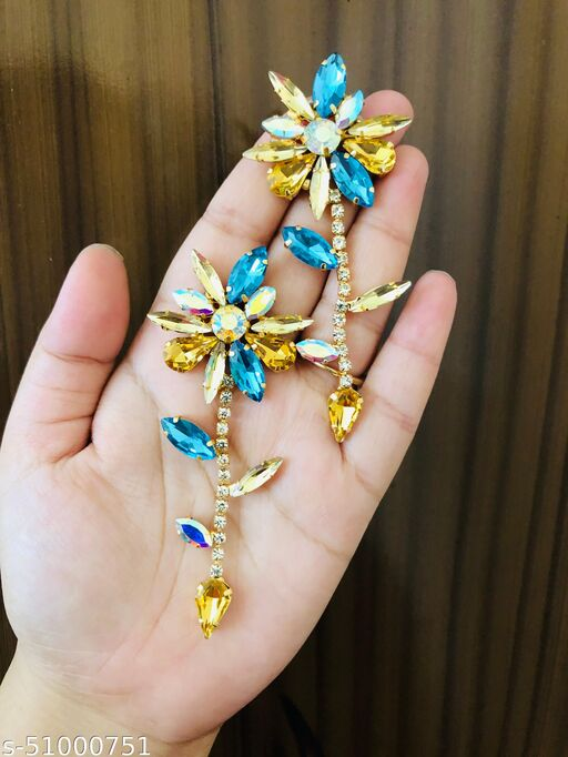 PREMIUM TRENDY FULL CRYSTAL ETHNIC FLORAL GLASS FLORAL DROP FASHION EARRINGS  FOR GIRLS & WOMEN…