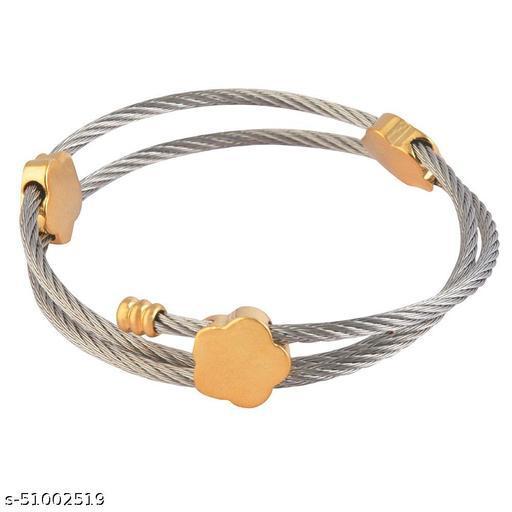 STRIPES Silver and Gold Bracelet for Women/Girls