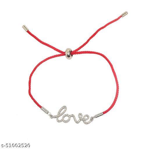 STRIPES Silver Love Pendant with Red Thread Bracelet for Girls/Women