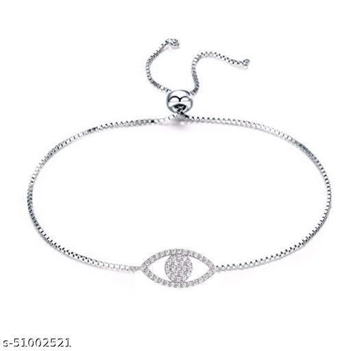 STRIPES Silver Rhodium Polish Stainless Steel Chain with Crystal Eye Design Bracelet for Girls/Women