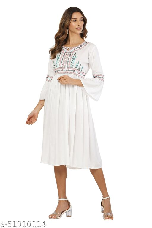 MM LADY OUTFITS FLORAL PRINTED WHITE COLOR DRESS FOR WOMEN
