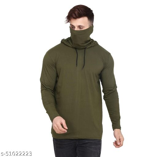 S&D Lifestyle Full Sleeves Men's Regular Fit Olive Plain hoodie with attached mask