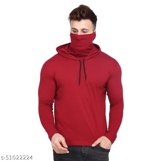 S&D Lifestyle Full Sleeves Men's Regular Fit Maroon Plain hoodie with attached mask