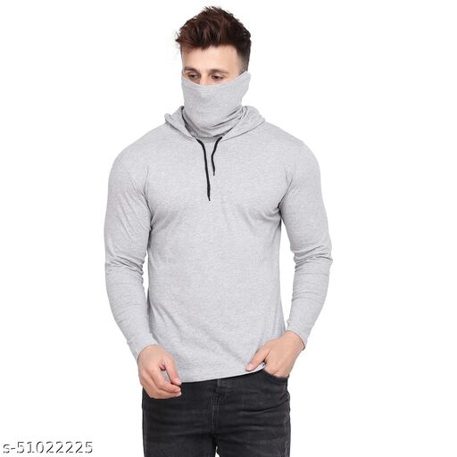 S&D Lifestyle Full Sleeves Men's Regular Fit Grey Plain hoodie with attached mask