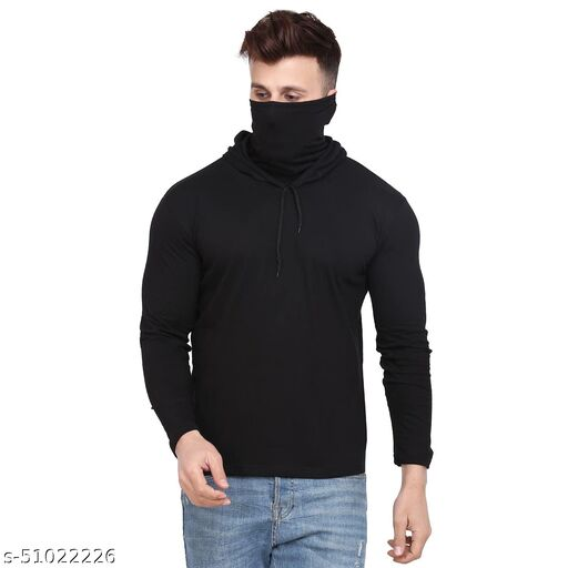 S&D Lifestyle Full Sleeves Men's Regular Fit Black Plain hoodie with attached mask