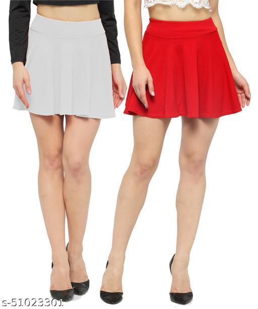 N-Gal Polyester Spandex  Flared Knit Skater Short Mini Skirt-White,Red_Pack of 2