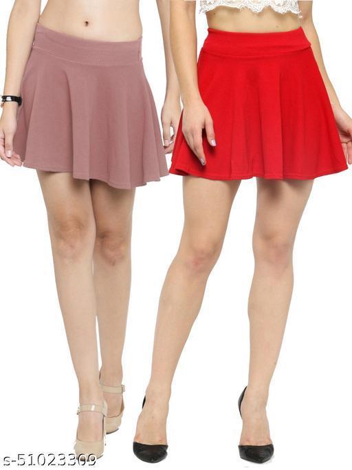 N-Gal Polyester Spandex  Flared Knit Skater Short Mini Skirt-Salmon,Red_Pack of 2