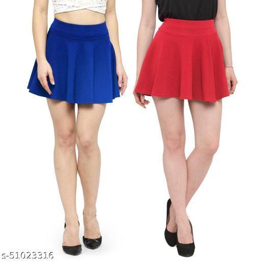 N-Gal Polyester Spandex  Flared Knit Skater Short Mini Skirt-RoyalBlue,Coral_Pack of 2