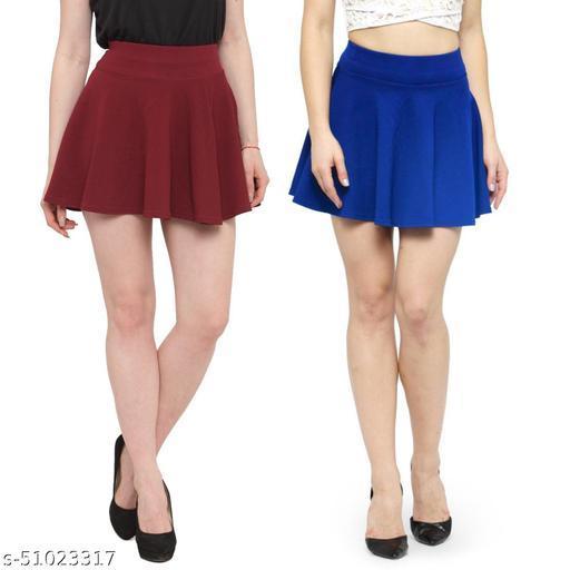 N-Gal Polyester Spandex  Flared Knit Skater Short Mini Skirt-Maroon,RoyalBlue_Pack of 2