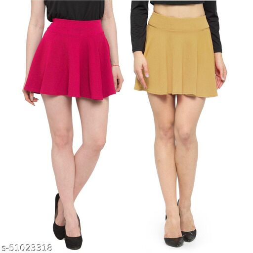 N-Gal Polyester Spandex  Flared Knit Skater Short Mini Skirt-Magenta,Beige_Pack of 2
