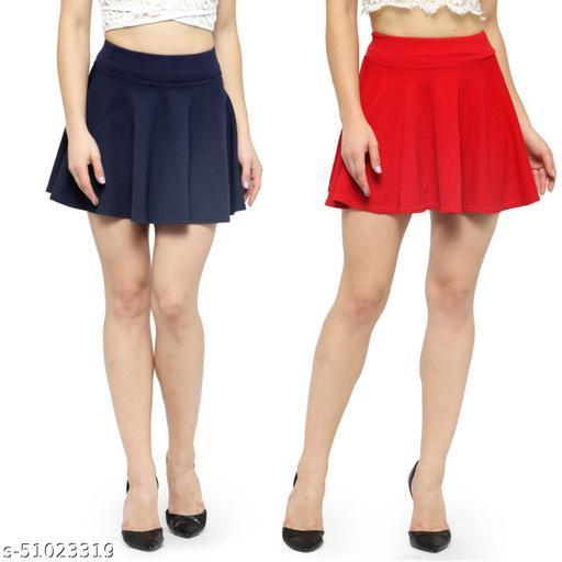 N-Gal Polyester Spandex  Flared Knit Skater Short Mini Skirt-NavyBlue,Red_Pack of 2