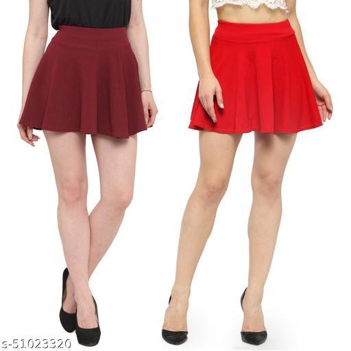 N-Gal Polyester Spandex  Flared Knit Skater Short Mini Skirt-Maroon,Red_Pack of 2