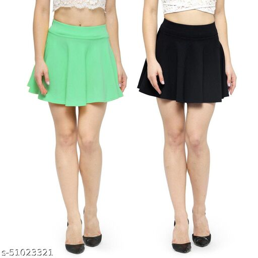 N-Gal Polyester Spandex  Flared Knit Skater Short Mini Skirt-SeaGreen,Black_Pack of 2
